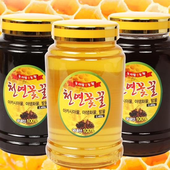 늘사랑벌꿀농원/천안/천연꽃꿀/유리병/아카시아꿀 2.4kg/밤꿀 2.4kg/야생화꿀 2.4kg 중 택 2